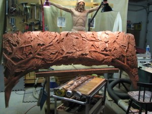 This is the center section for the above tree carving. It was done it three sections with this one being over 6 ft. wide.