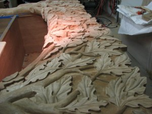Here is a view across the span of one of the original carvings during the carving stage.