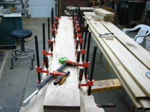The initial glue up of the trunk.
