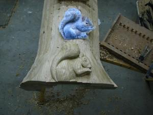 I needed to get the Squirrel in place prior to carving the roots which will appear to come out of the floor.