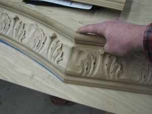 It was necessary for appearance sake to have the design continue into the straight sections of molding for a truly custom look. These can't be mitered just anywhere.