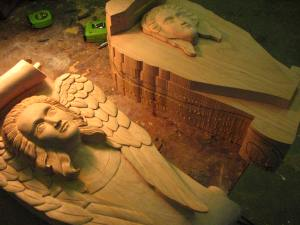 The job also required some corbels that were 28 inches high done as Angels. Here one is nearly complete and the other is glued up.