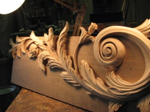 An angled view of the 3ft. long carving.